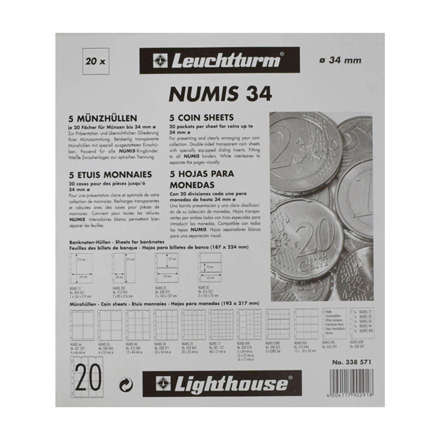 Album Pages NH20 for Coins NUMIS Coin Collection Sheets Leuchtturm 338571 Pages
