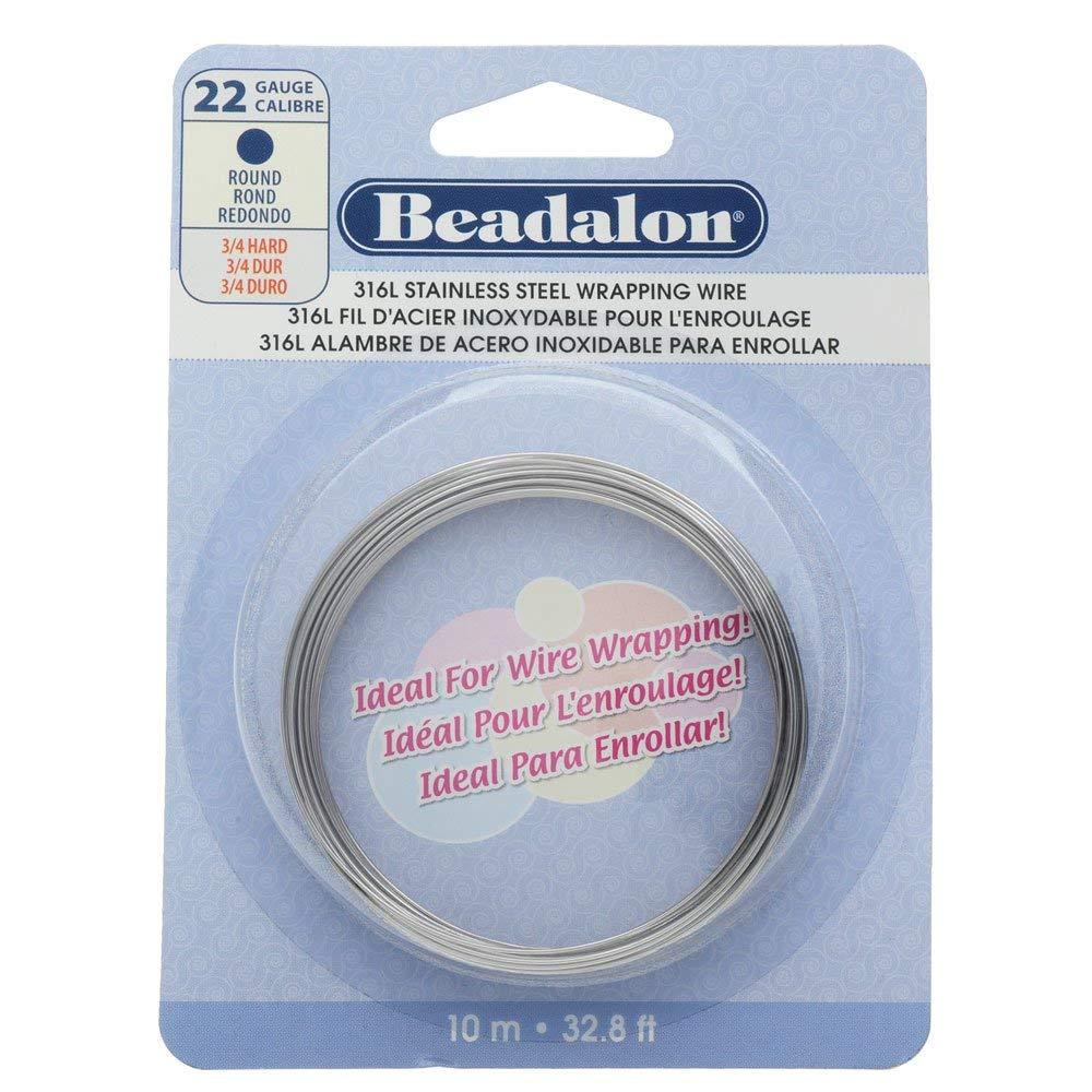 29.5ft Beadalon 1//2 Round 316L Stainless Steel Wire 20 Gauge 9m