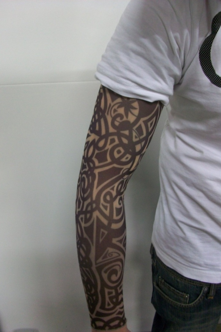 T76 Fake Tattoo Sleeve Cloth Arm Art Blood Wolf