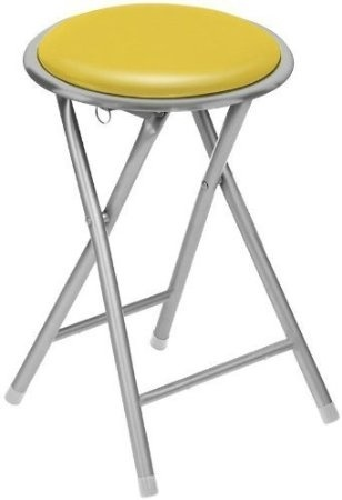 Fine Round Seat Folding Stool Flodable Breakfast Chair Stools With Silver Frame Legs Yellow Ibusinesslaw Wood Chair Design Ideas Ibusinesslaworg