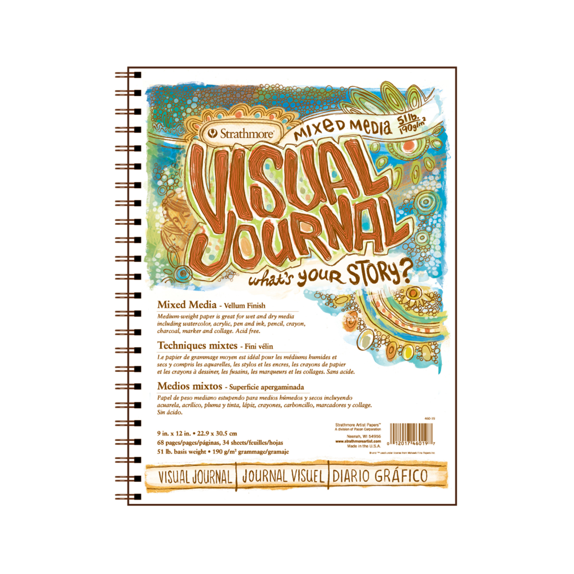 Strathmore 500 Series Visual Mixed Media Journal 34 Sheets 5.5x8 Vellum Wire Bound