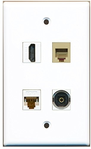 1 Port RCA Blue and 1 Port Phone RJ11 RJ12 Beige and 1 Port Shielded Cat6 Ethernet Wall Plate RiteAV