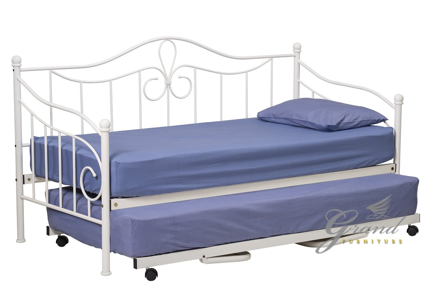 Lisbon Metal Day Bed With Trundle And Mattresses 2 White Victorian Style 0 9m Single Guest Sofa Bed Frame Bedstead By Metal Day Beds Shop Online For Homeware In New Zealand