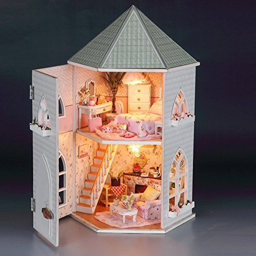 Rylai 3D Puzzles Wooden Handmade Miniature Dollhouse DIY Kit Light Love House Series Dollhouses Accessories Dolls Houses with Furniture LED Music Box