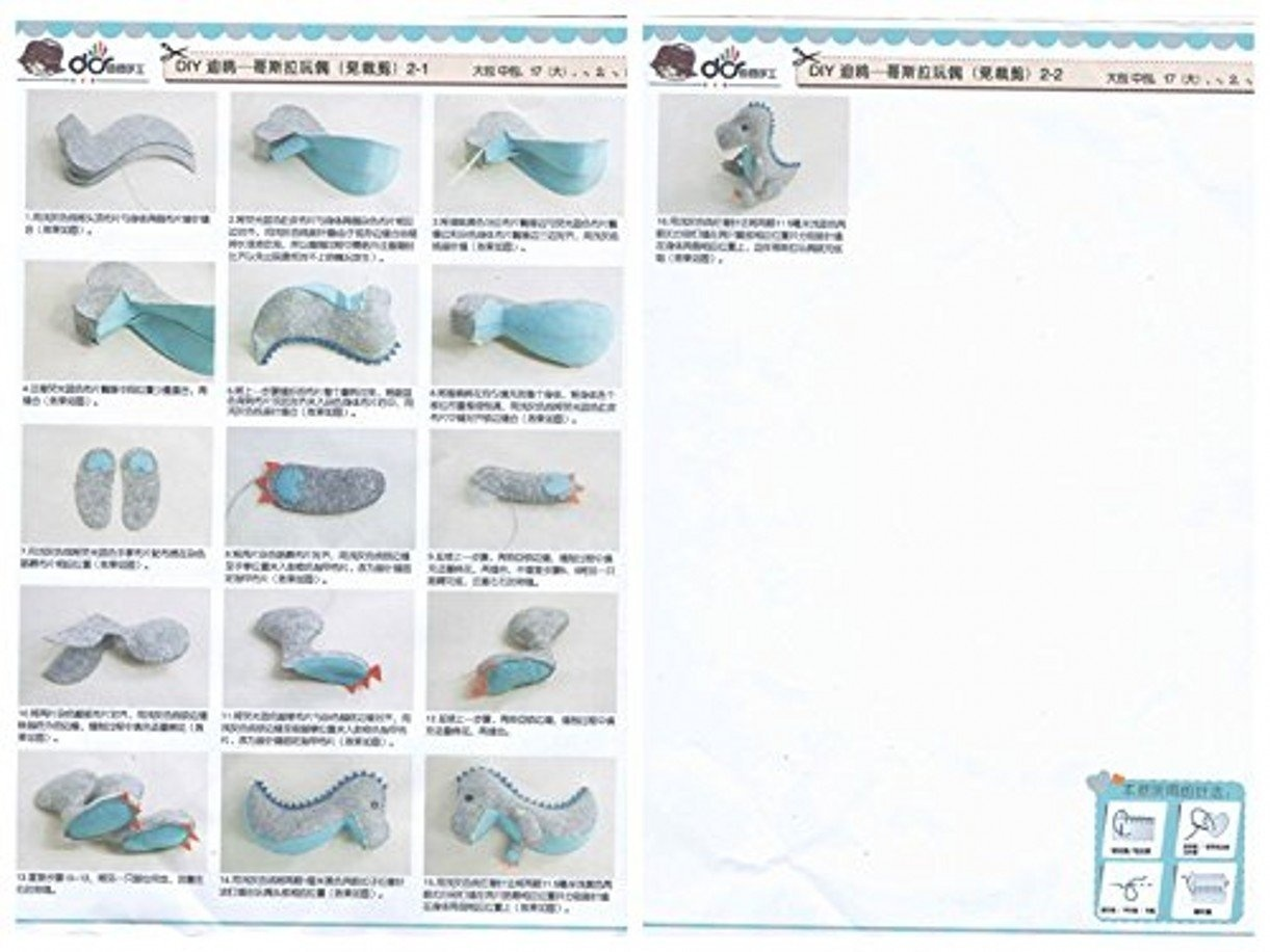Make Your Own Doll-Dinosaur DIY Sewing Polyester Felt Nonwoven Fabric Craft Kit Doll Kits