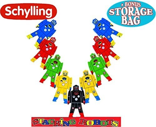 Schylling Wood Stacking Robots Deluxe Set with Bonus Mattys Toy Stop Storage Bag