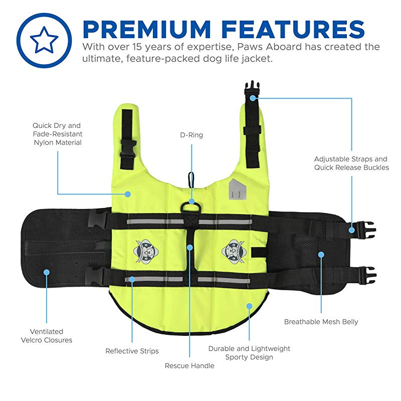 Neon Yellow Fashionable Dog Life Vest for Swimming and Boating Paws Aboard Dog Life Jacket
