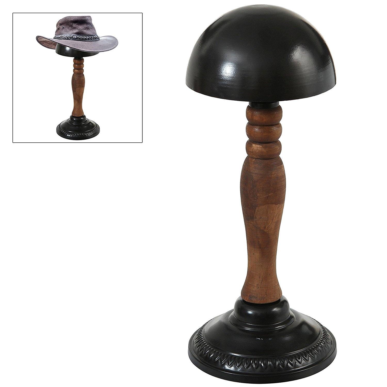 MyGift Vintage Style Rustic Bronze Finish Metal Hat//Wig//Cap Rack Hanger Display Stand Styling Storage Holder