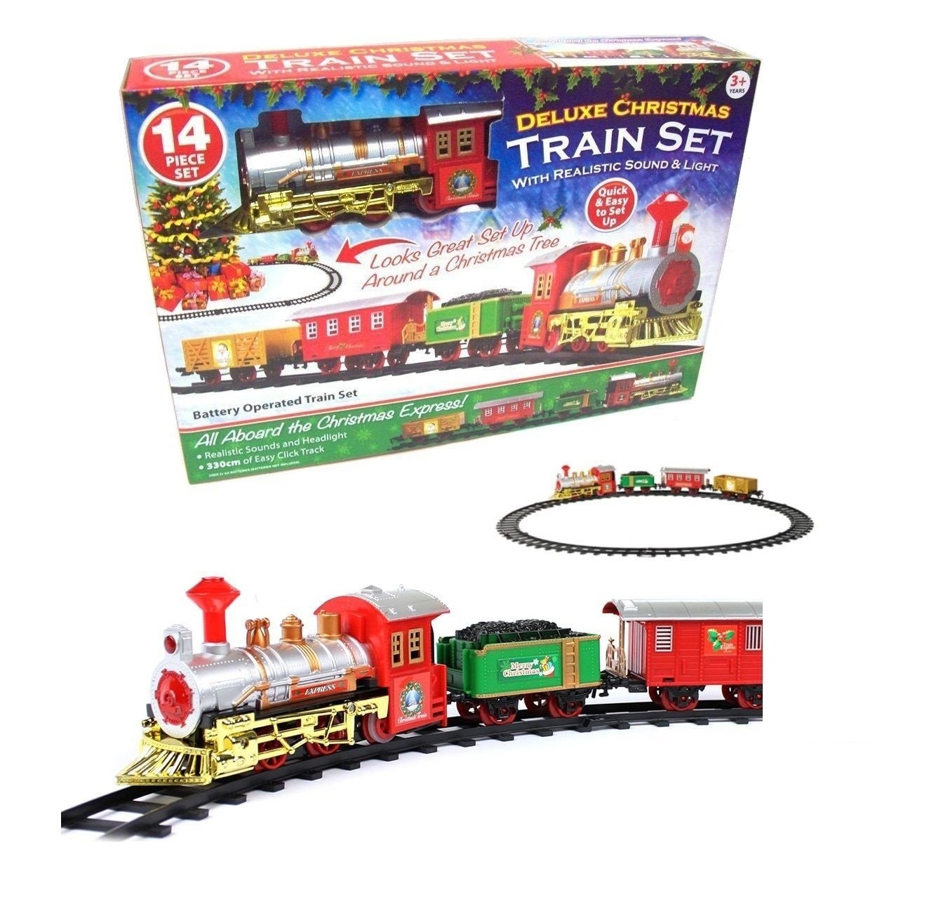 CHRISTMAS EXPRESS Holiday Festive Train Set Toys Track Light ...
