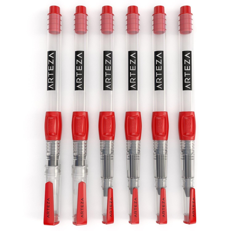 Set of 6 Portable Assorted Tips Self-moistening Arteza Water Brush Pens