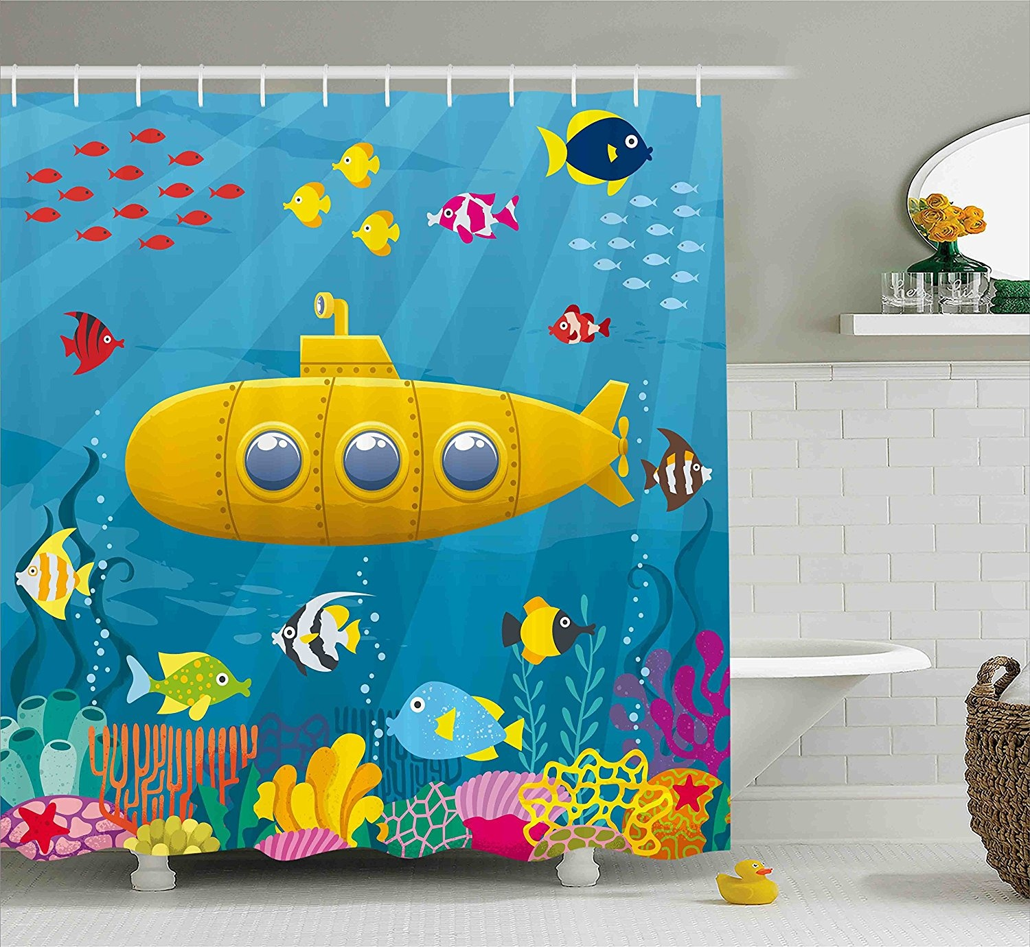 Yellow Submarine Shower Curtain Set By Ambesonne Coral Reef With Colourful Fish Ocean Life Marine Creatures Tropical Kids Fabric Bathroom Decor With
