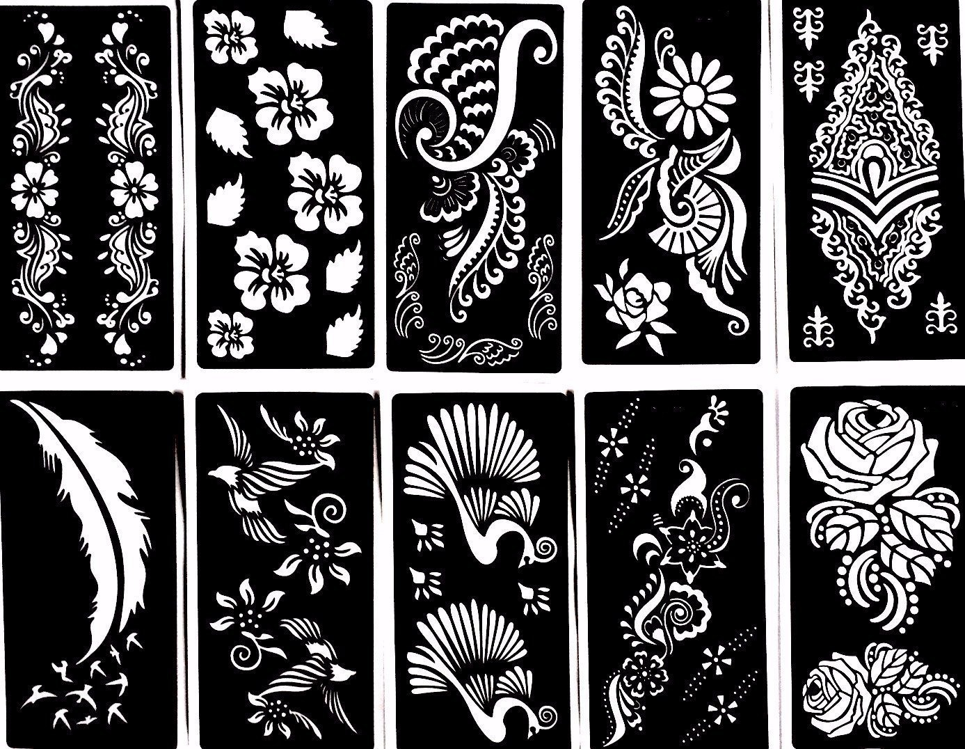 Henna Stencil Tattoo 10 Sheets Self Adhesive Temporary Tattoo Template Beautiful Body Art Painting Mehndi Designs By Gilded Girl Shop Online For Beauty In New Zealand