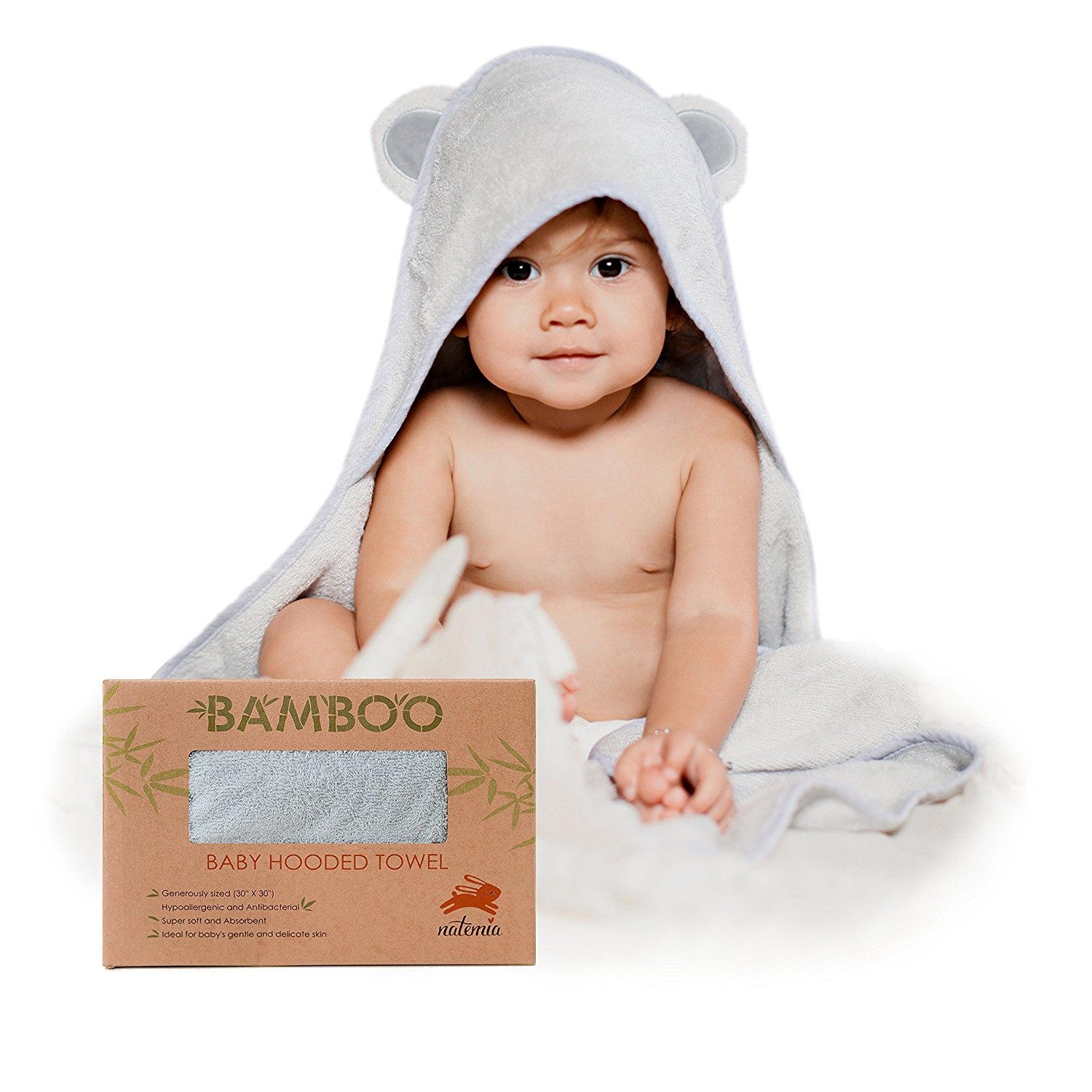 Super Absorbent Hypoallergenic Toddler Infant Newborn Premium Baby Hooded Towel w//Bunny Crinkle Ears Extra Soft /& Luxury Large Organic Bamboo Bath Towel for Boy or Girl Baby Shower Gift