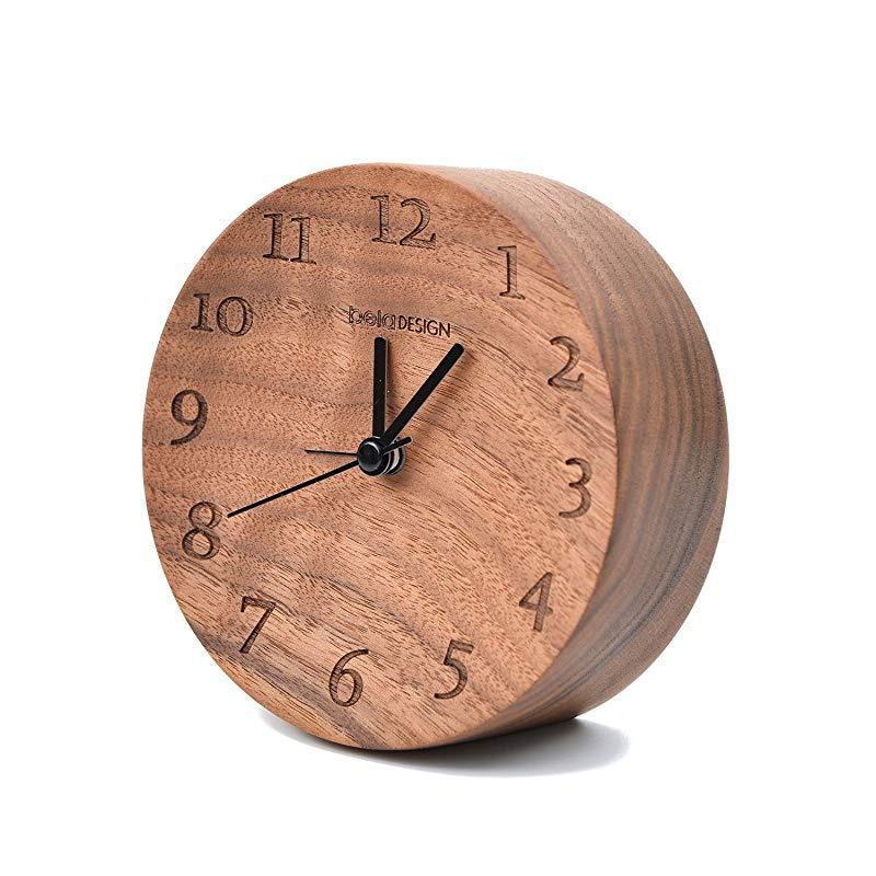 Beladesign Alarm Clock Black Walnut Wooden Concave Silent Quartz Battery Powered Bedside Table Desktop Round Snooze Handmade Clock