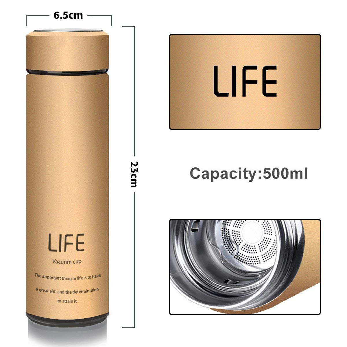 500ml //18 oz king do way Insulated Stainless Steel Water Vacuum Bottle Double-walled Coffee Cup Flasks Thermo for Hot and Cold Drinks,Travel Mug for Outdoor Sports Hiking Running