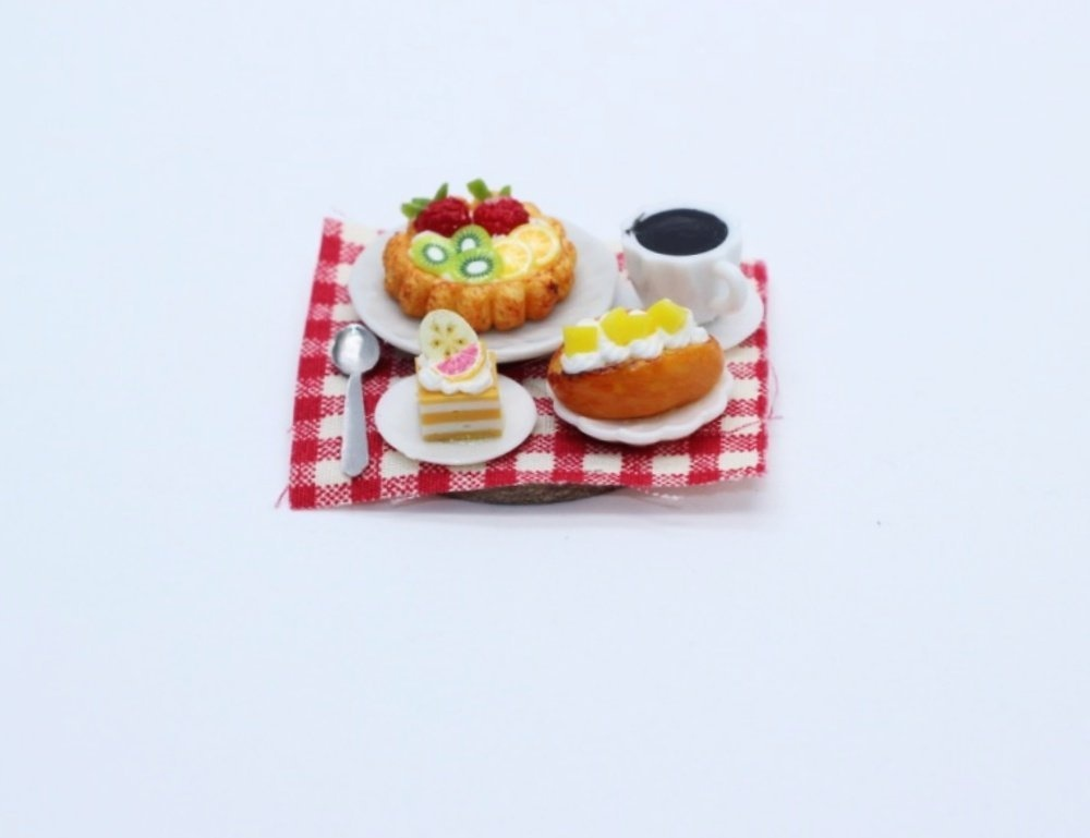 Dollhouse Miniature Food Cake Dessert Bakery Coffee Set Wooden Tray Supply 13751