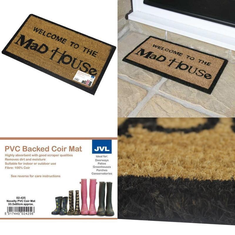 JVL Novelty Gin Design Latex Backed Door Mat, Coir, Natural, 33 5 x 60 cm