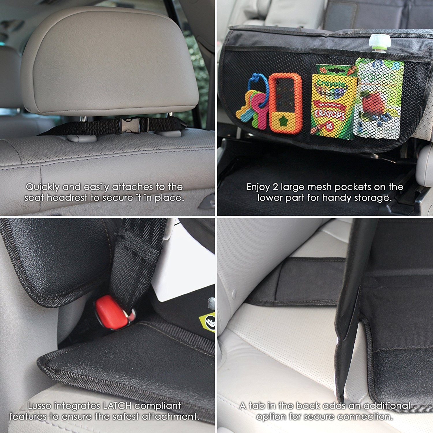Waterproof 600D Fabric PVC Leather Reinforced Corners /& 2 Large Pockets for Handy Storage Car Seat Protector with Thickest Padding Best Coverage Available Durable Featuring XL Size