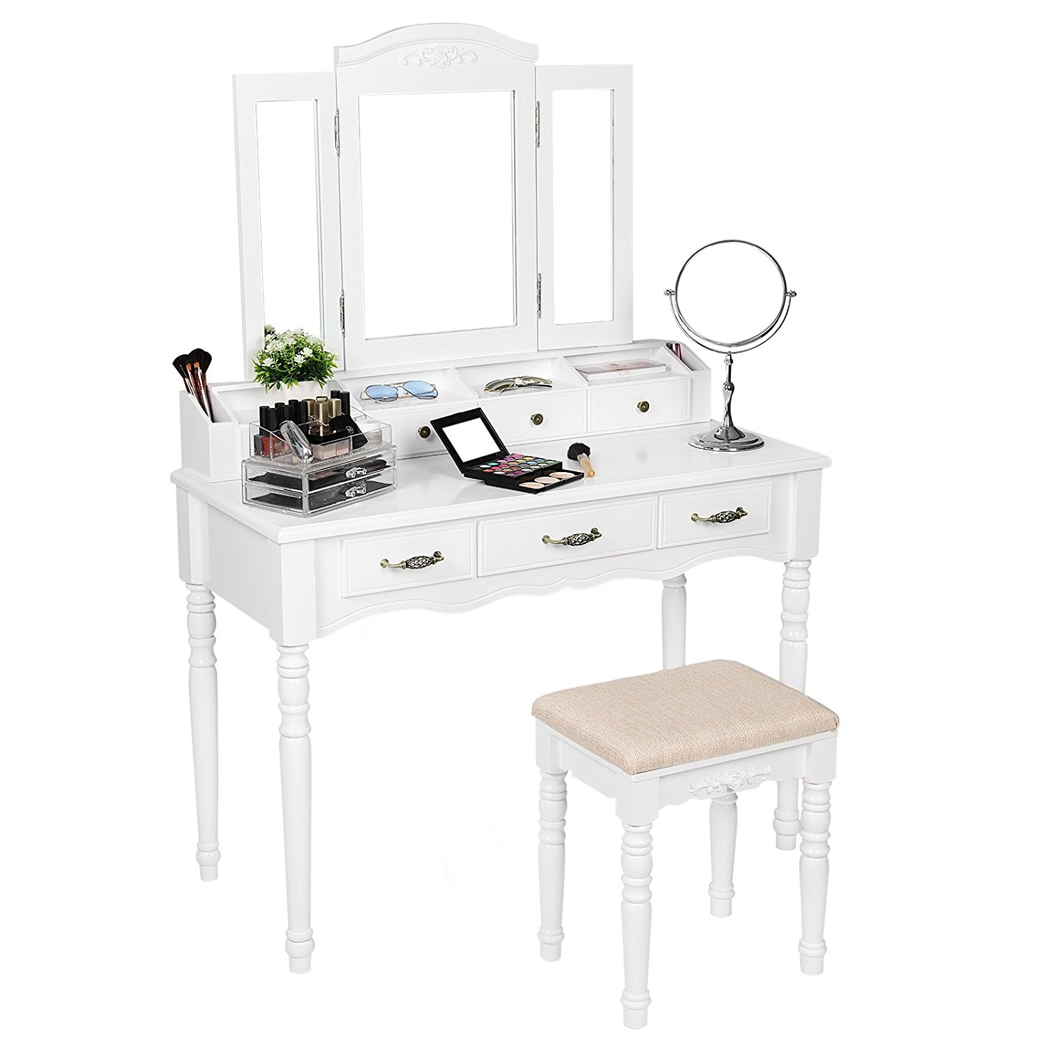 Songmics Vanity Set Tri Folding Mirror