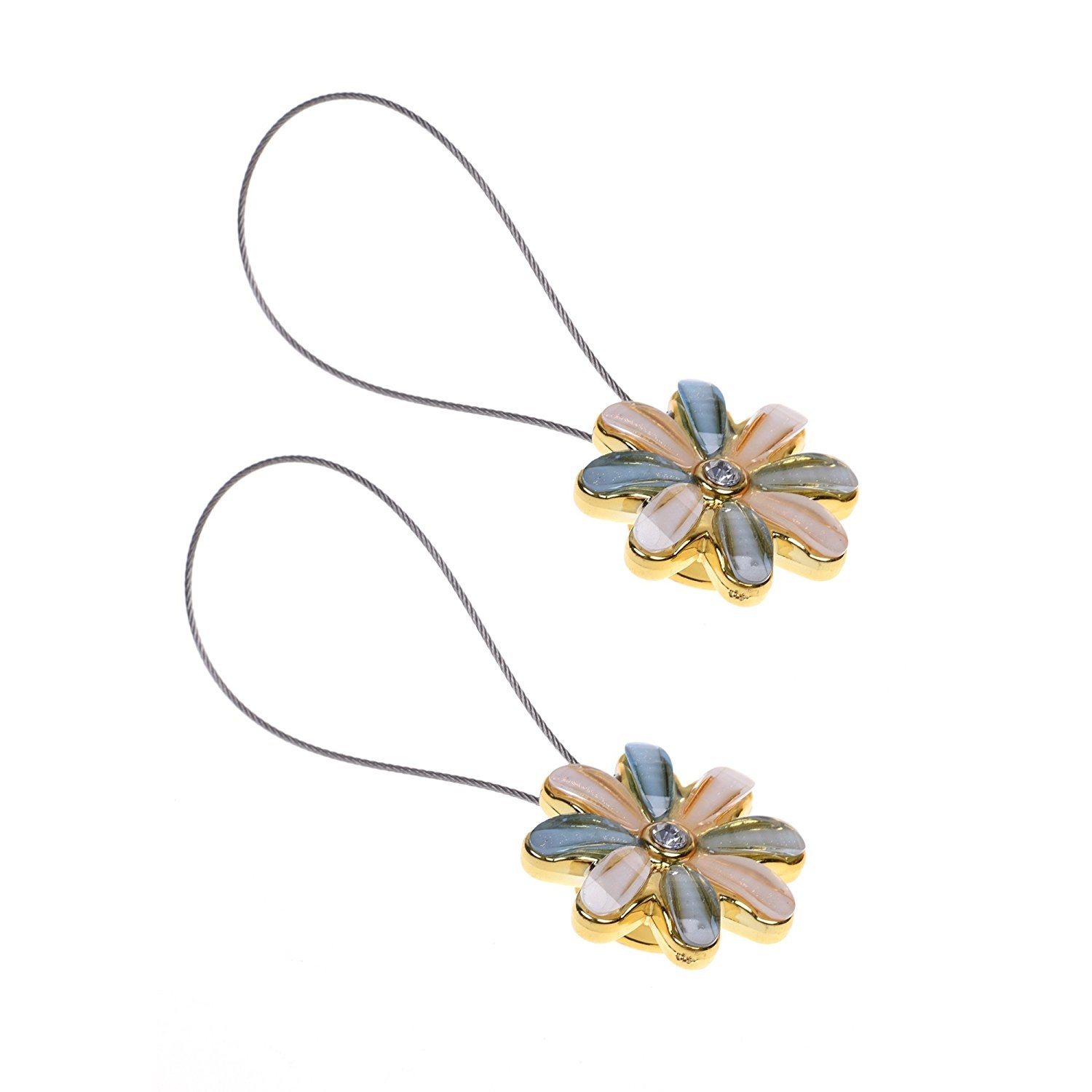 Cosmos 1 Pair Double Colour Magnetic Flower Curtain Clips Tiebacks Holdbacks By Cosmos Shop Online For Homeware In New Zealand