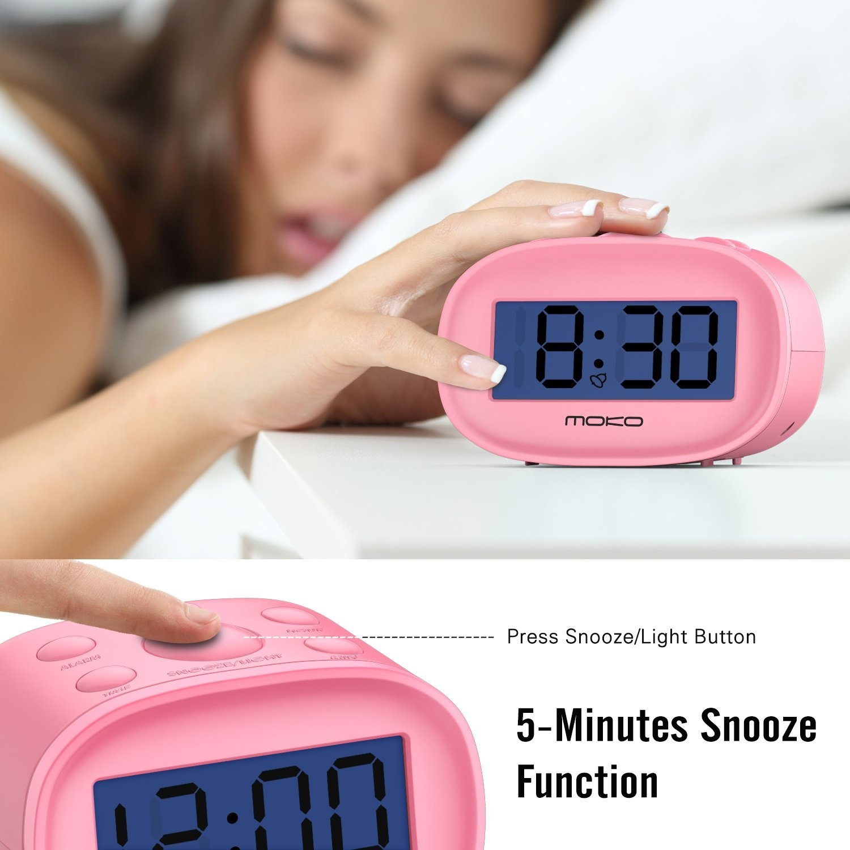 High Accuracy Mini LCD Display Kids Clock Night Light Travel Bedside Alarm Clock