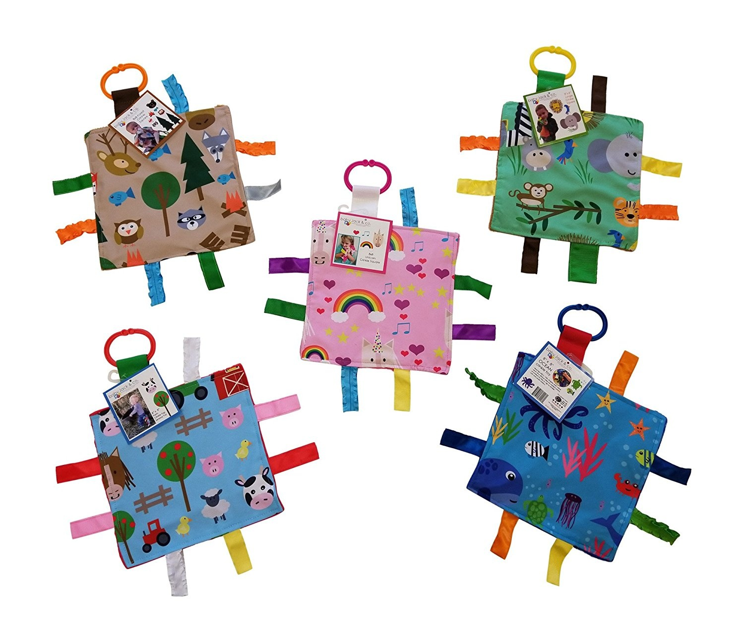Farm Friends Baby Jack /& Co Baby Sensory Crinkle /& Teething Square Lovey Toy with Closed Ribbon Tags for Increased Stimulation 8X8