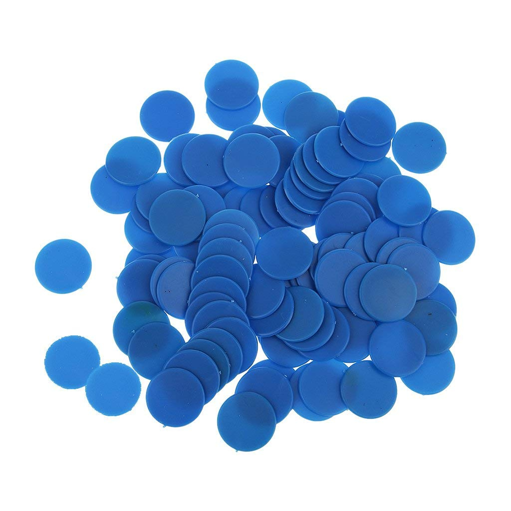 Blue 18mm Sharplace 100 Plastic Counters Gaming Tokens-Red,Yellow,Blue,Green for U Pick