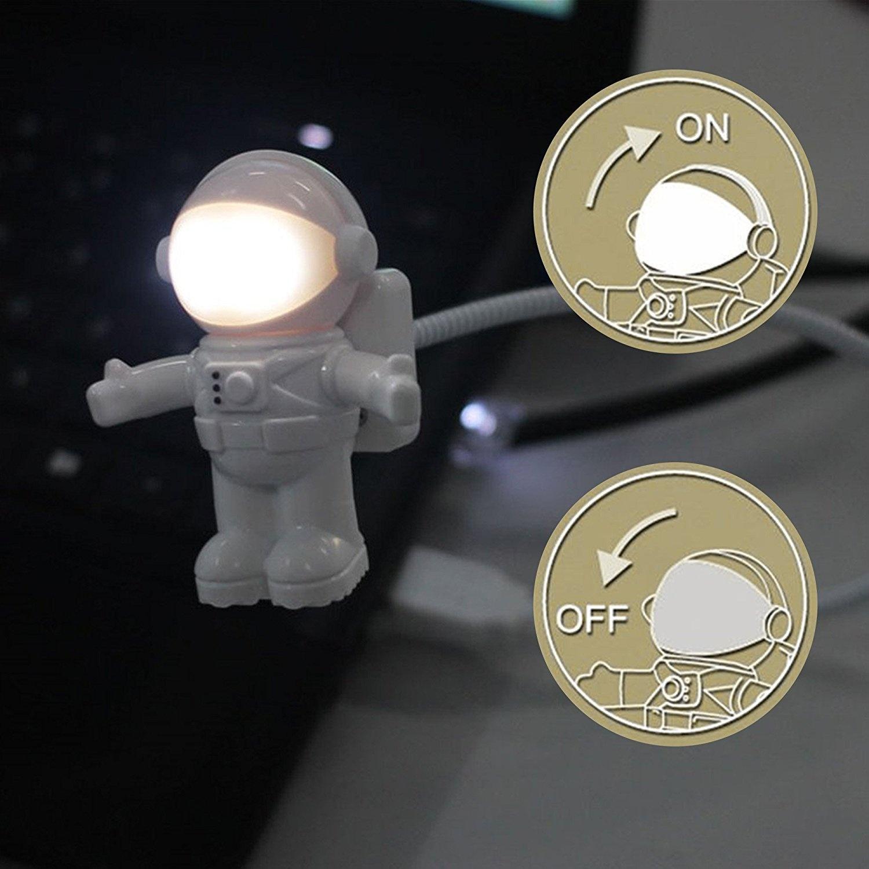 Spaceman Clip LED USB Light Flexible Read Table Lamp Light Astronaut Desk Lamp