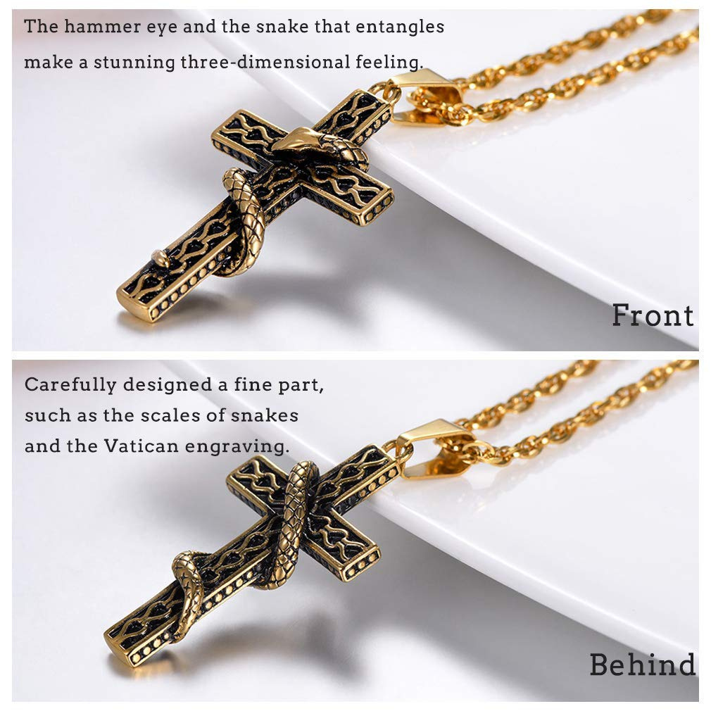 with Gift Box 316L Stainless Steel//Gold Plated//Black Color Satanism//Ankh Cross Snake Necklace with Chain PROSTEEL Customized