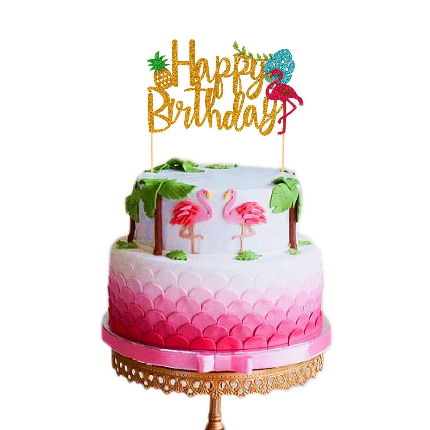 Remarkable Flamingo Pineapple Cake Toppers Happy Birthday Cake Picks Tropical Funny Birthday Cards Online Overcheapnameinfo