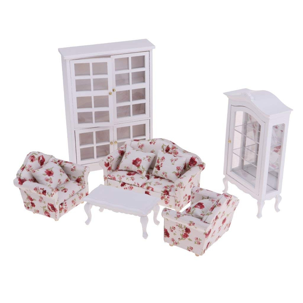 1//12 Scale Dollhouse Furniture Sofa End Table And Vertical Display Cabinet