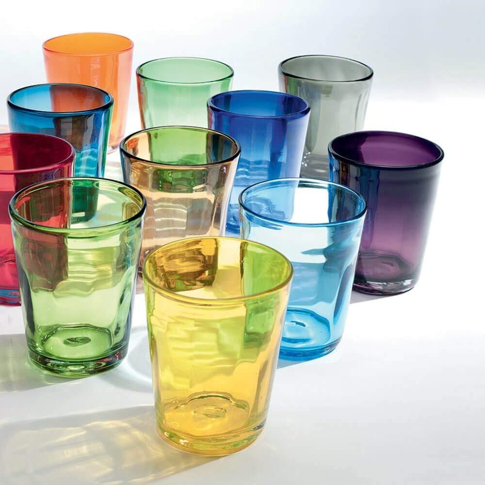 Zafferano Bilia Set 6 tumblers Transparent with Different Colours Little Balls