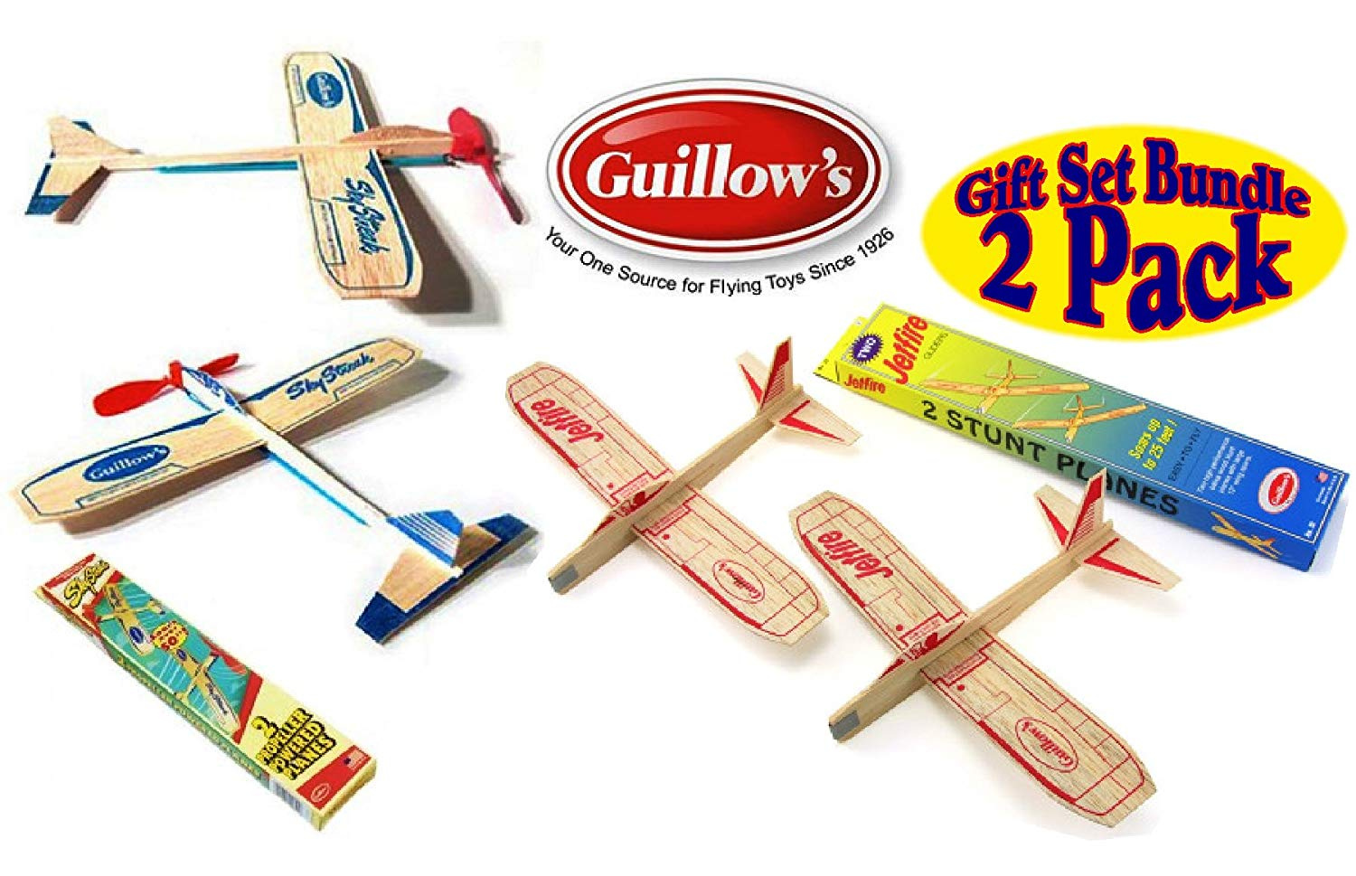 Guillow 6 Sky Streak Rubber Band Powered Balsa Wood Airplanes Kits