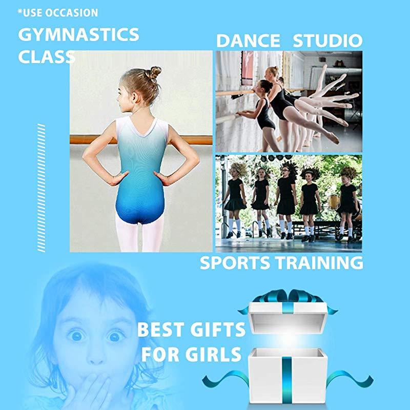 ZNYUNE Girls One Piece Blue Gradient Color Sparkle Leotard Dancing Ballet Gymnastics Athletic Leotards for Little Girl