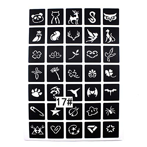Xmasir Tattoo Stencil Kit For Henna/Airbrush / Face paint/Glitter - Kids  Temporary Tattoo Women Airbrush Templates Mixed 175 Sheets
