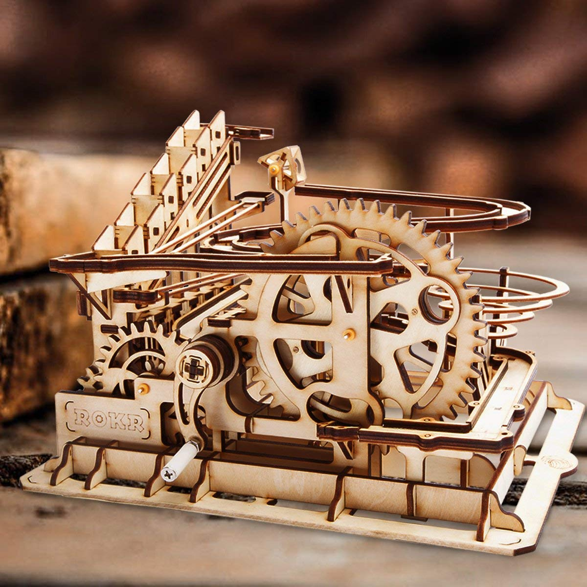 ROKR Mechanical 3D Wooden Puzzle Model Kit Adult Craft Set Educational Toy Building Engineering Set Christmas//New Year//Birthday//Thanksgiving Day Gift for Adults Boys Kids Age 14+ Waterwheel Coaster