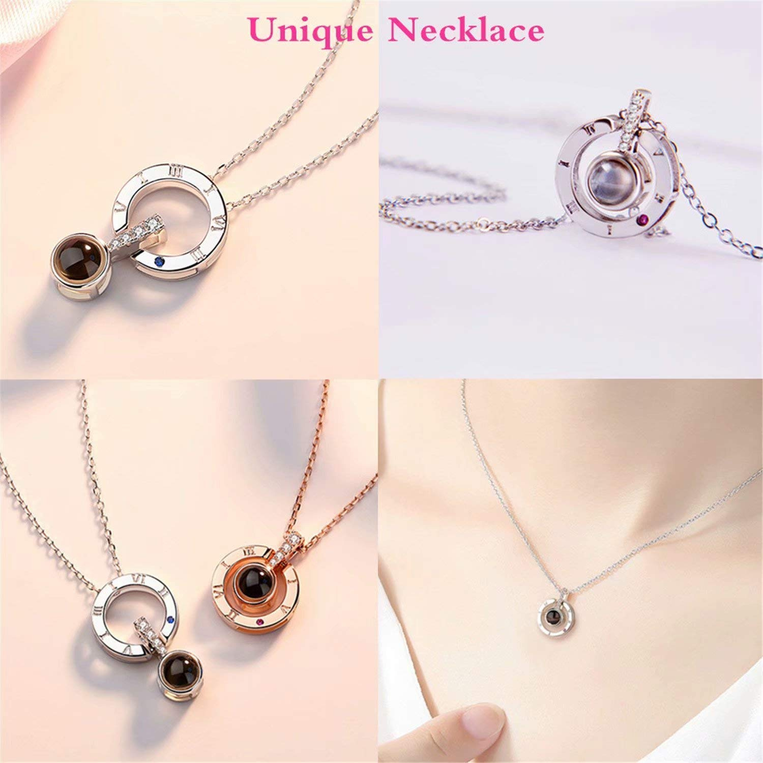 AsiaRhyme Projective Necklace The Memory of Love Nanotechnology Necklace 100 Different Languages for I Love U Round in Silver