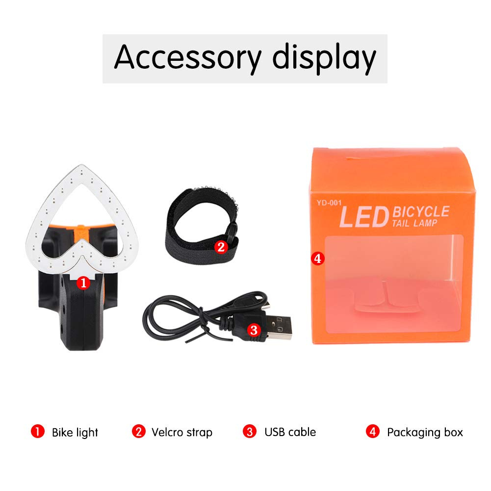 Gaocunh LED Bike Tail Light Rear Bike Light-5 Light Modes USB Rechargeable Bike Light Easy to Install for Cycling Safety Heart-shaped