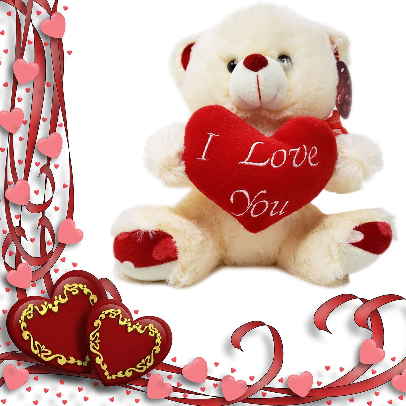 CUTE VALENTINE DAY STUFFED TEDDY BEAR I LOVE YOU PLUSH HEART MUSIC INCLUDED
