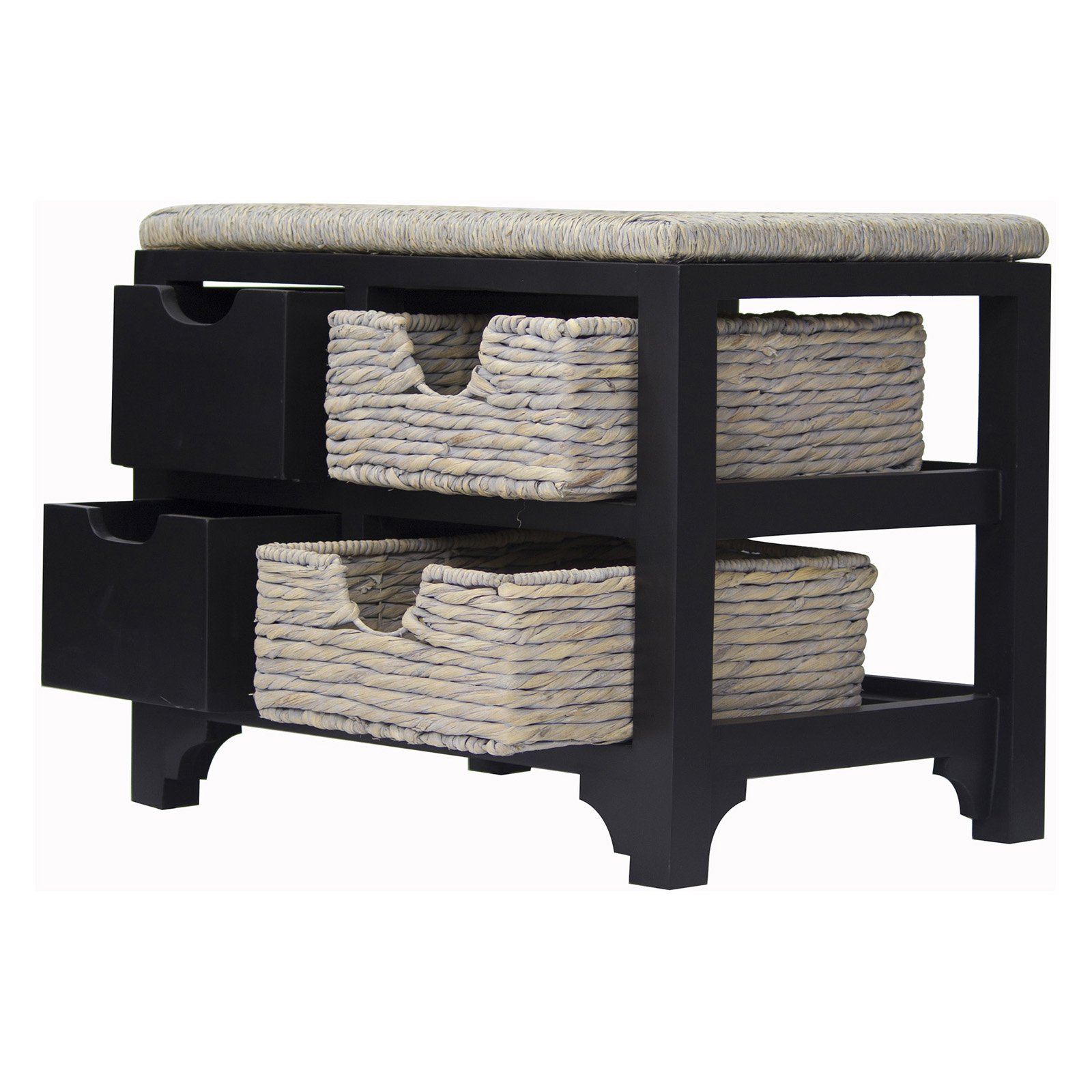 Awesome Heather Ann Creations Vale Seagrass Top 2 Drawer 2 Basket Storage Bench Ocoug Best Dining Table And Chair Ideas Images Ocougorg