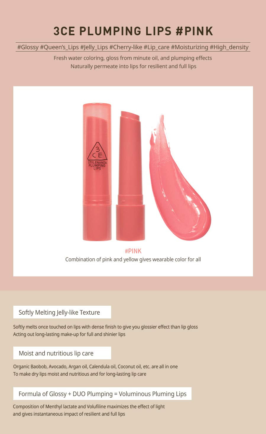3CE Plumping Lips 2.4g #PINK by 3ce - Shop Online for Beauty in New Zealand