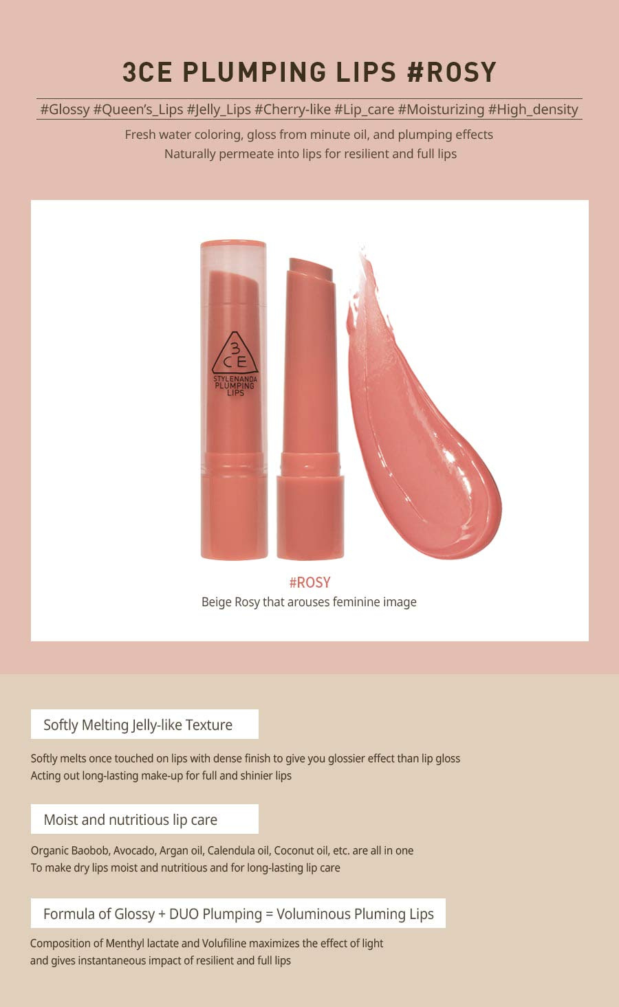 3CE Plumping Lips 2.4g #ROSY by 3ce - Shop Online for Beauty in New Zealand