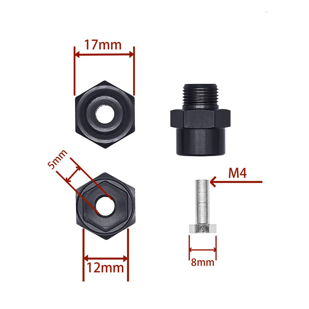 4Pcs Aluminum 12mm Turn 17mm Wheel Hex Hub Conversion Adapter for 1//10 RC Car Upgrade Parts