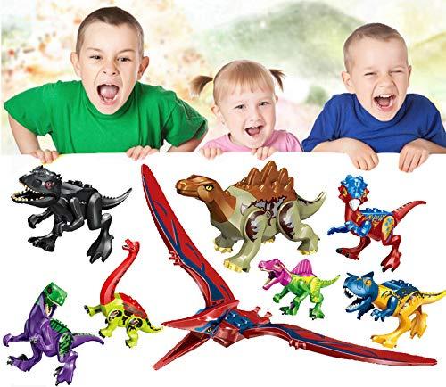 Jiistar Dinos Toy,8PC Dinosaur Building Blocks Figures Toys,Jurassic Predator Herbivore and 23PC Dinosaur Scene Configuration,Educational Gift for Kids