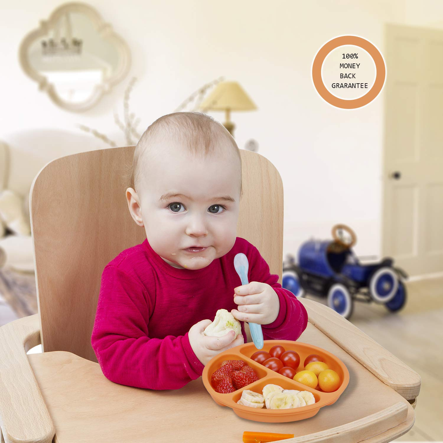 Powcan Baby Plates BPA-Free Kids Plates Divided One-Piece Toddler Plates Flexible Childrens Plate Strong Suction Non-Slip Silicone Baby Placemat Plate with Spoon Dishwasher /& Microwave Safe