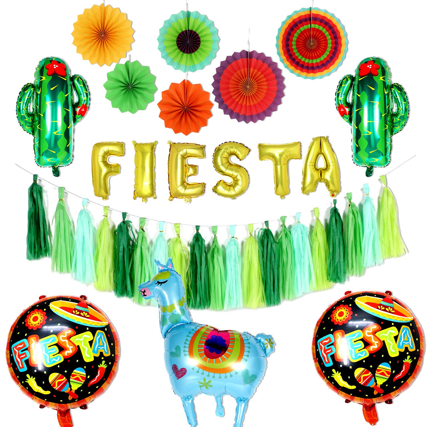 Tacobear Fiesta Mexican Party Decorations Colorful Paper Fans Gold Fiesta Balloon Banner Fiesta Party Tassel Garland Llama And Cactus Balloons For Mexican Fiesta Theme Birthday Party Supplies Green Art Craft Supplies