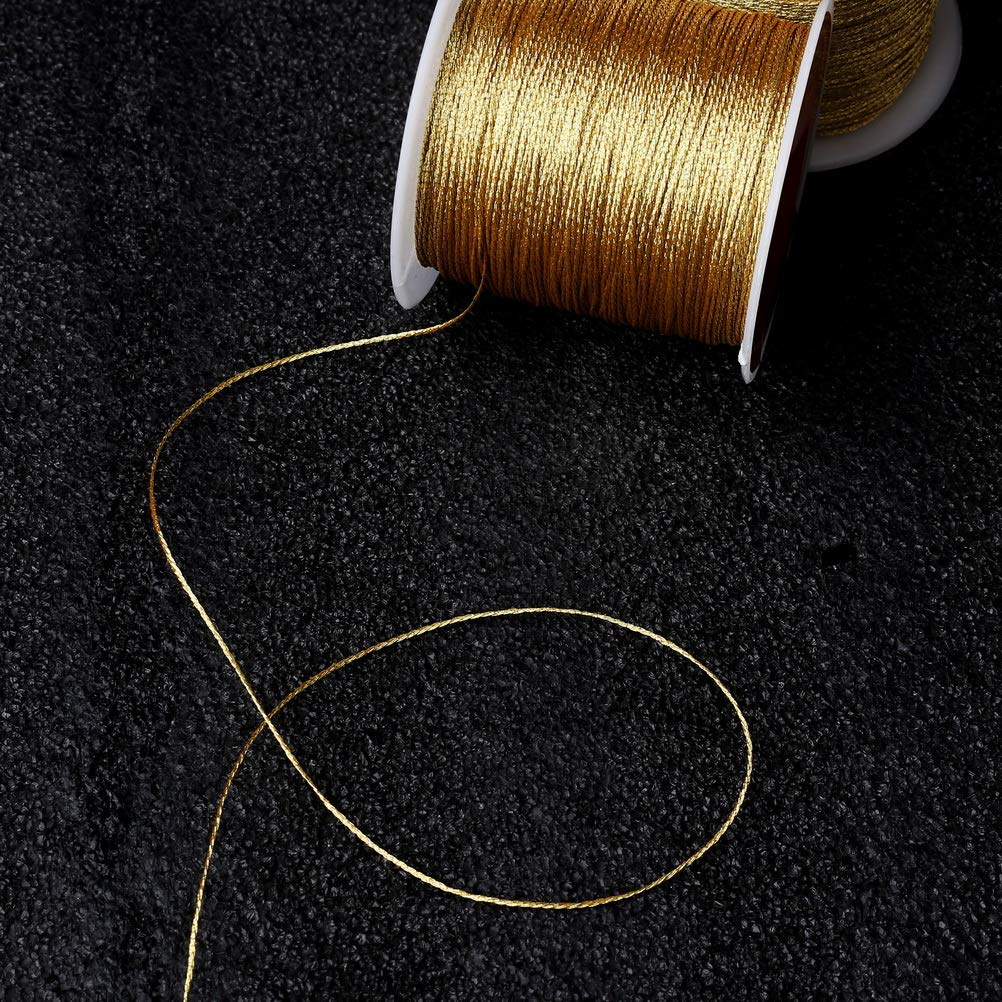 Gold 100 Meters// 109 Yards Shappy Metallic Cord Jewelry Thread Craft String Lift Cord for Jewelry and Craft Making