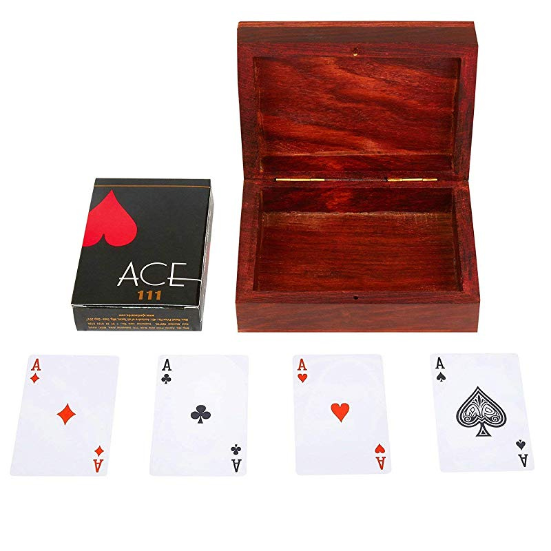 Unique Birthday Gift Ideas Handcrafted Classic Wooden Playing Card Holder Deck Box Storage Case Organizer With Dice /& Single Pack of Premium Quality Ace Playing Cards Anniversary Gifts For Him Her