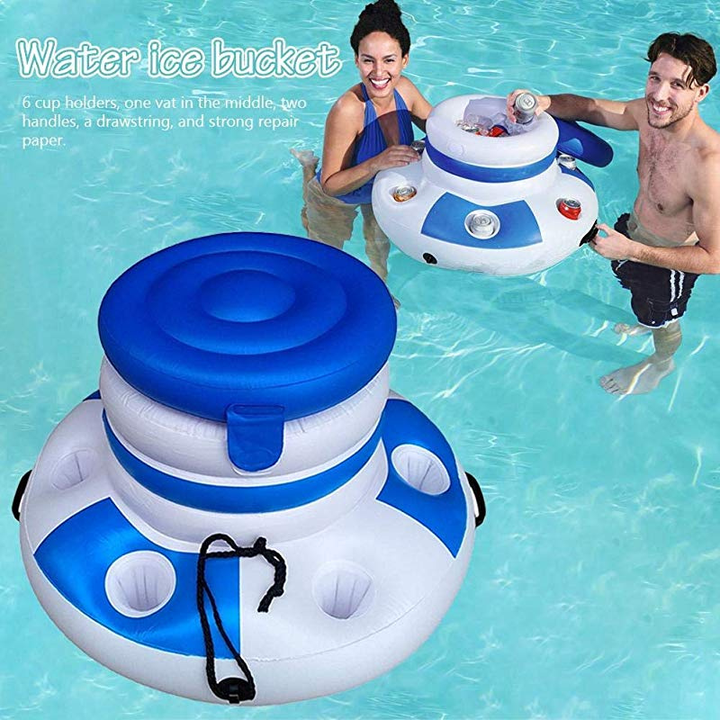Floating Bar Beer Bucke Drink holder Float Support Can Bottle Cups for Summer Beach Pool Party Flyinghedwig Inflatable Ice Bucket Cooler Bag with 6 cup holders for Pool