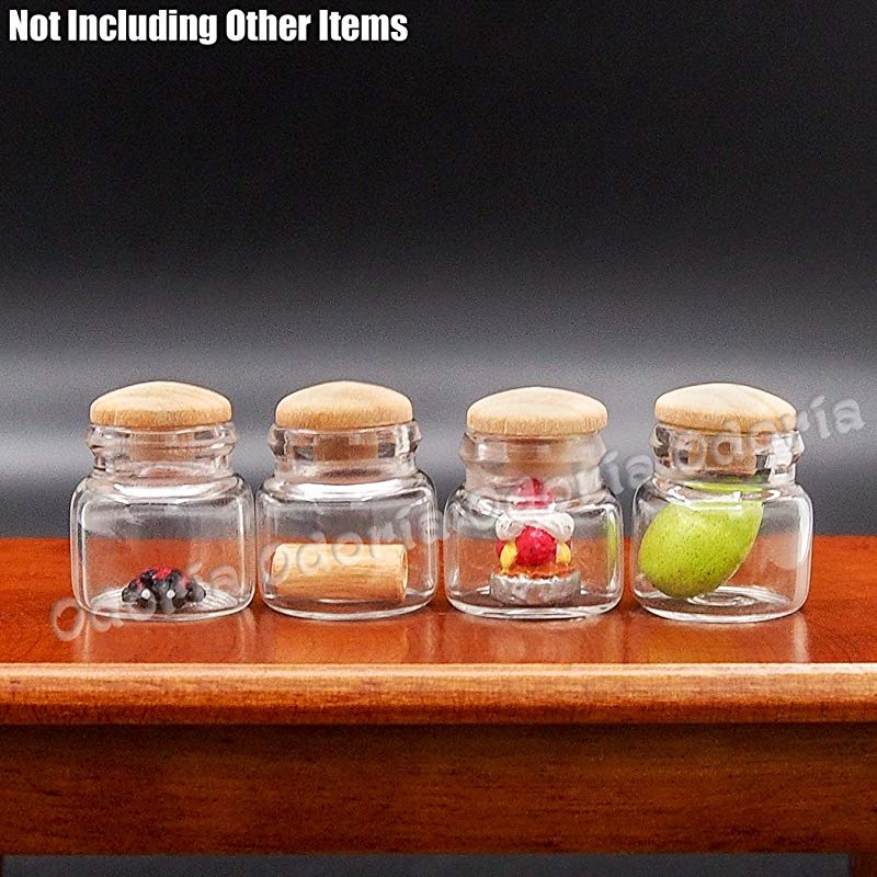 4x Miniature Glass Fruit Jars Bottle Shop Kitchen Food Decor For 1//12 Dollhouse